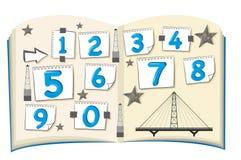 Numeri uno - zero sul libro Immagini Stock