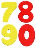 Numeri variopinti della gomma piuma Immagine Stock