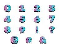 Numeri variopinti della pittura bagnata Insieme del fumetto di vettore illustrazione di stock