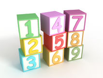 Numeric Baby Blocks. 3d isolated on white Royalty Free Stock Photography