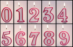 Numeric Birthday Candles Lit. And ready for copy and pasting Royalty Free Stock Photos