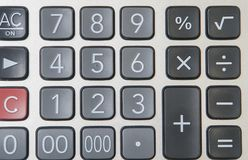 Numeric button of calculator for finance. Close up numeric button of calculator for finance Royalty Free Stock Image