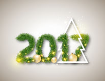 2017 numeric from fir branches with abstract christmas tree and Stock Photo