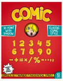 Numeric font design with 3D effect. Complete set of numbers and mathematical symbols in comic style. Retro design as magazine cover Stock Photos