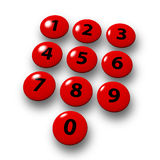Numeric keyboard. Red keys floating over the white ground, XXL Stock Image