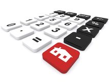 Numeric keyboard. With prominent red button carrying image of a single story house in white isolated on a white background stock image