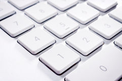 Numeric keyboard. Selective focus on the number one on keyboard Stock Photography