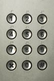 Numeric Keypad. Silver push button numeric keypad background stock photo