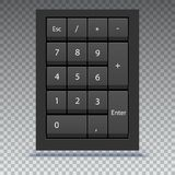 Numeric keypad, close up view. Calculator numpad with numbers, computer keys on keyboard on transparent background.  Stock Images