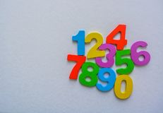 Numeric Numbers set from 0 to 9 on white and flat background stock photo
