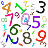 Numeric Pattern. Pattern combined of colorful numbers on white background vector illustration