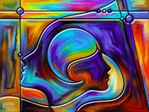 Numeric Perception. Thinking Divided series. Creative arrangement of human profiles and stained glass lines as a concept metaphor on subject of mind, science Stock Image