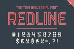 Numeric and symbol font Red Line Stock Image