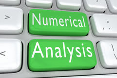 Numerical Analysis concept. 3D illustration of computer keyboard with the print `Numerical Analysis` on two adjacent green buttons Royalty Free Stock Image