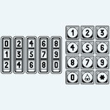 Numerical code lock, button. Isolated on blue background. Vector silhouettes Royalty Free Stock Image