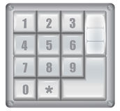Numerical digital security lock. Metallic electronical coding lock with keyboard Stock Photos