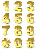 Numerical digits collection, 0 - 9, plus hash tag and asterisk Royalty Free Stock Photos