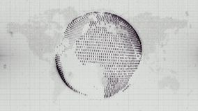 Numerical Earth - globe formed from data on Earth map background. Monochrome image of planet Earth represented as data steam with a flat map of the world in the Stock Photography