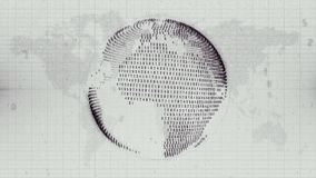 NUmerical Earth - globe formed from data on Earth map background. Monochrome motion graphic of planet Earth represented as data steam with a flat map of the royalty free illustration