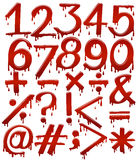 Numerical figures in bloody template Royalty Free Stock Images