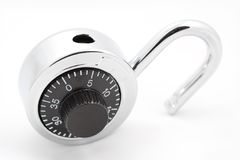 Numerical Lock. A macro shot of a numerical lock over a white background Stock Photography