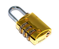 Numerical Padlock. Padlock device isolated with clipping path. Code 123 Stock Photos