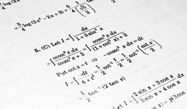 Numerical problems in Calculus. Numerical problems in Integral Calculus from a high school mathematics text book Stock Photos