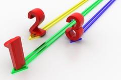 1 2 3 Numerical s In Successive  Arrows Stock Photos
