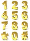 Numerieke cijfersinzameling, 0 - 9, plus knoeiboelmarkering en asterisk Royalty-vrije Stock Foto's