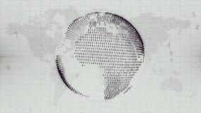 Numerieke die Aarde - bol van gegevens over de achtergrond van de Aardekaart wordt gevormd stock footage