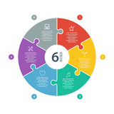 Numeriertes flaches Regenbogenspektrum färbte Puzzlespieldarstellung infographic Diagramm mit dem erläuternden Textfeld, das auf  Stockfotos