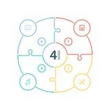 Numeriertes flaches Regenbogenspektrum färbte Puzzlespieldarstellung infographic Diagramm mit den Ikonen, die auf weißem Hintergr Lizenzfreie Stockfotografie