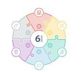 Numeriertes flaches Regenbogenspektrum färbte Puzzlespieldarstellung infographic Diagramm mit den Ikonen, die auf weißem Hintergr Lizenzfreie Stockbilder