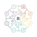 Numeriertes flaches Regenbogenspektrum färbte Puzzlespieldarstellung infographic Diagramm mit den Ikonen, die auf weißem Hintergr Stockfotos