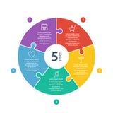 Numeriertes flaches Regenbogenspektrum färbte Puzzlespieldarstellung infographic Diagramm mit dem erläuternden Textfeld, das auf  Lizenzfreie Stockbilder