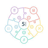 Numeriertes flaches Regenbogenspektrum färbte Puzzlespieldarstellung infographic Diagramm mit den Ikonen, die auf weißem Hintergr Stockfotografie
