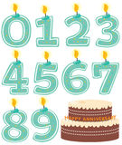 Numeriertes Kerze-Set und Kuchen Lizenzfreie Stockbilder