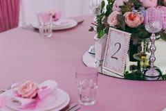 Numerierungstabellen an der Hochzeit Lizenzfreie Stockfotografie