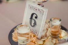 Numerierungstabellen an der Hochzeit Stockfotografie