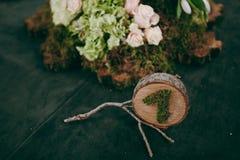 Numerierungstabellen an der Hochzeit Stockbild