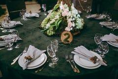 Numerierungstabellen an der Hochzeit Lizenzfreies Stockbild