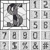 Numerische Zahlen kopierte Linien des Mosaiks Lizenzfreie Stockfotos