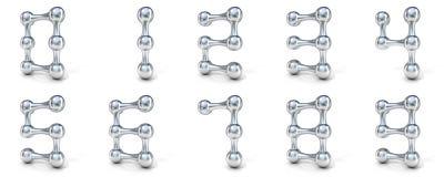 Numerisk siffrasamling 0-9 för molekylär stilsort Royaltyfri Fotografi