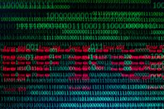 Numeriska fortlöpande, abctractdata i binär kod, ger att avverka för teknologi arkivfoto