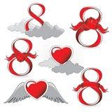 Numero 8 ed icone del cuore Fotografia Stock Libera da Diritti