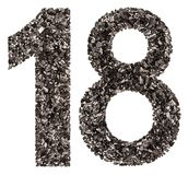 Numero arabo 18, diciotto, dal nero un carbone naturale, isolante Immagini Stock