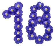 Numero arabo 18, diciotto, uno, dai fiori blu di lino, iso Fotografie Stock Libere da Diritti