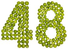 Numero arabo 48, quarantotto, dai piselli, isolati sul whi Immagine Stock Libera da Diritti