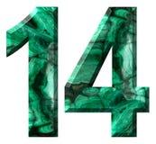 Numero arabo 14, quattordici, da malachite verde naturale, isolata su fondo bianco illustrazione di stock