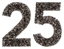 Numero arabo 25, venticinque, dal nero un carbone naturale, i Immagini Stock Libere da Diritti